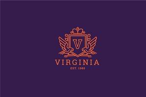 Letter V Logo - Heraldic,Crest Logo