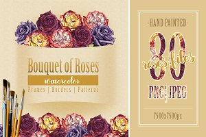 Bouquet of roses PNG watercolor set