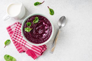 Beetroot cream soup in bowl