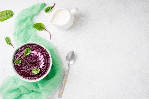 Beetroot puree with chard leaves