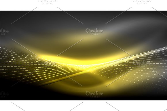 Smooth light effect, straight lines on glowing shiny neon dark background. Energy technology idea