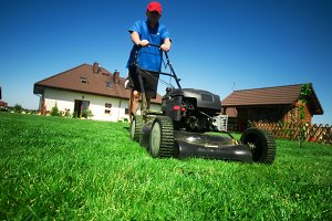 Man mowing the lawn