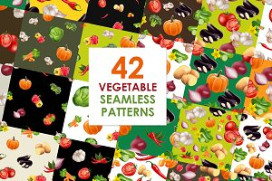 Big vegetables patterns set