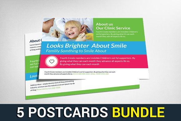 5 Business Postcards Bundle