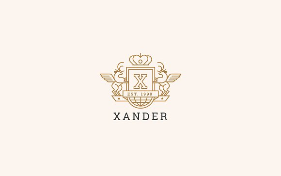 Letter X Logo - Heraldic,Crest Logo in Logo Templates - product preview 3