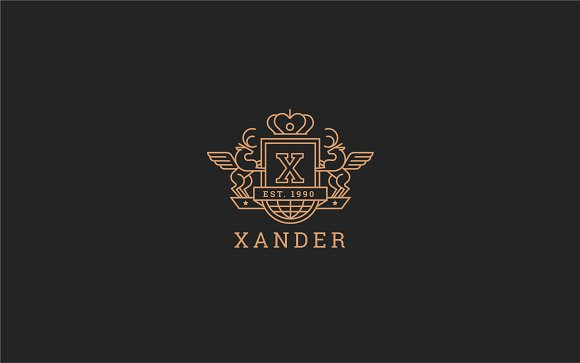 Letter X Logo - Heraldic,Crest Logo in Logo Templates - product preview 4