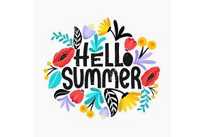 Hello Summer!Lettering postcard.