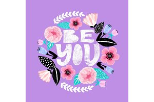 Be you. Feminism quote postcard.