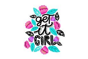 Get it girl! Feminism letterig card.