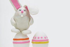 plasticine rabbit with easter eggs