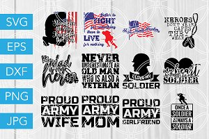 Army SVG Bundle Soldier Cut Files