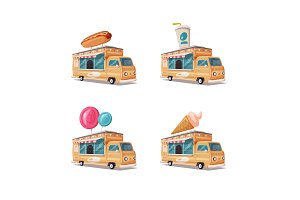Set of street food vans