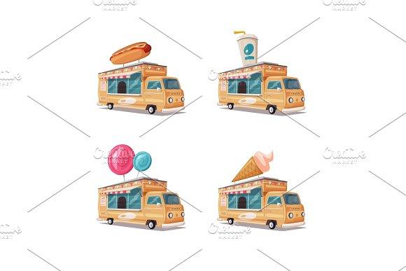 Set Of Street Food Vans
