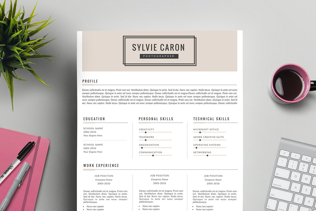 Hipster CV Template For MS Word Resume Templates Creative Market