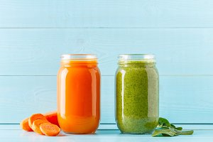 Orange/green colored smoothies