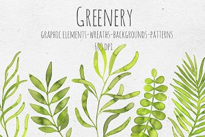 Greenery. Watercolor set