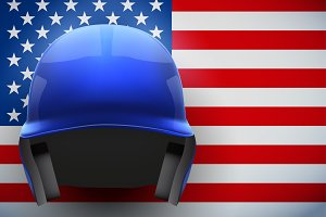 Baseball Helmet and American Flag