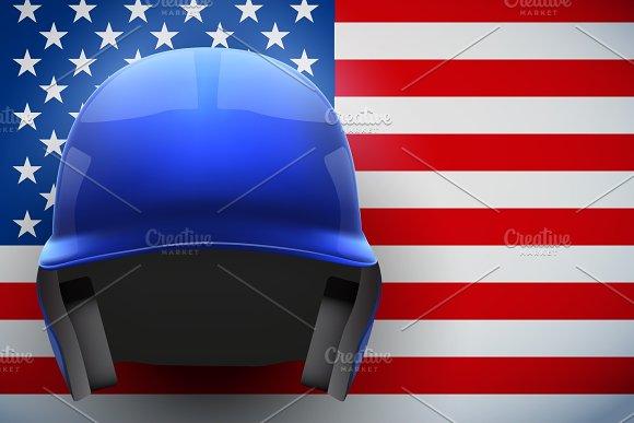 Baseball Helmet And American Flag