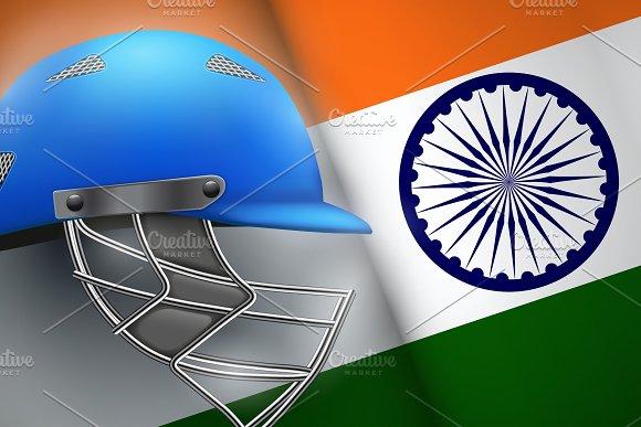 Cricket Helmet And American Flag
