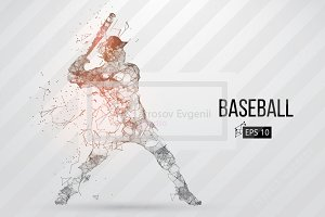 Silhouette of a baseball player. Set