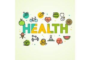 Cartoon Health Concept Card