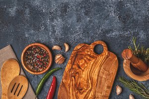 Cutting board and spice for cooking