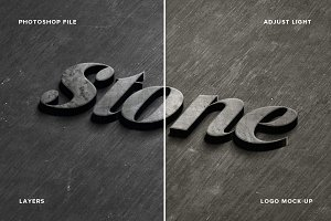 Stone logo Mock-Up Realistic