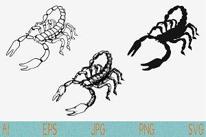 scorpion set vector SVG PNG JPEG