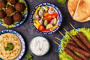 kebabs, falafel and hummus