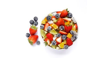 Bowl of fresh fruit salad.