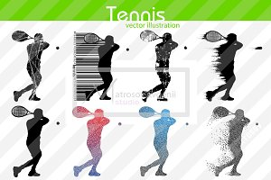 Silhouette of a tennis player. Set