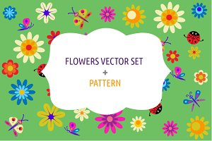 Flowers vector set + pattern