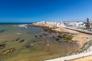 Panoramic view of Essaouira old city and ocean, Morocco