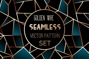Golden wire seamless pattern set
