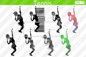 Silhouettes of a tennis player. Set