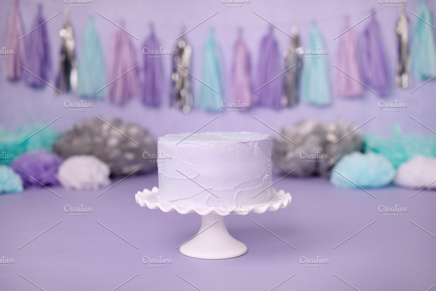 Save Purple Cake Mermaid Unicorn Party