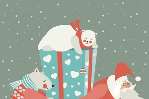 Santa and polar bear carrying a gift