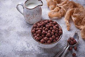 Cocoa balls corn flakes for breakfast