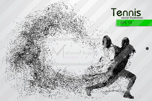 Silhouette of a tennis player in Illustrations