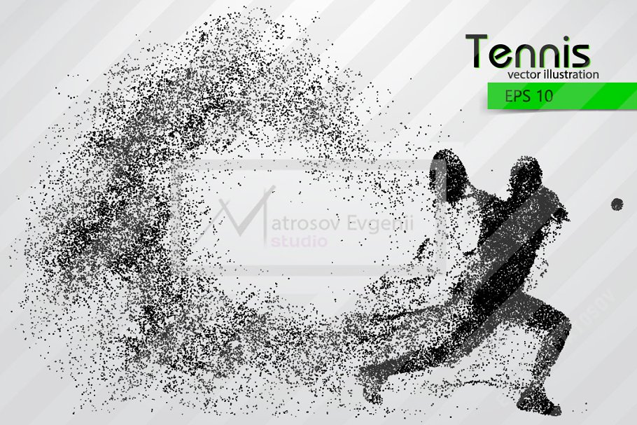 Silhouette of a tennis player in Illustrations - product preview 8