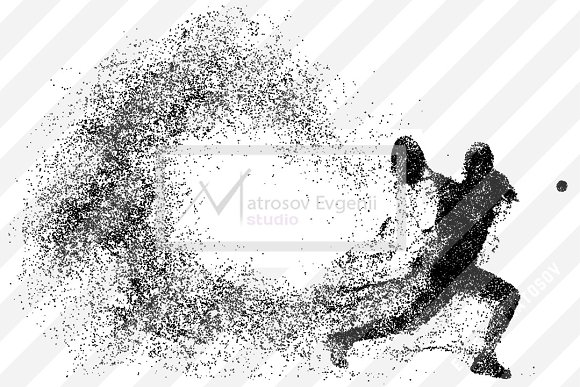 Silhouette of a tennis player in Illustrations - product preview 1