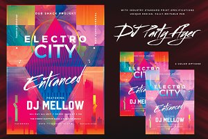 Electro City DJ Night Party Flyer