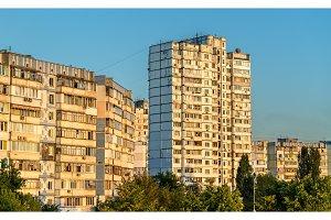 Soviet-era residential buildings in Troieschyna, a large neighborhood of Kiev, Ukraine