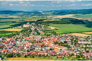 View on Spisske Podhradie town from Spis Castle, Presov region, Slovakia