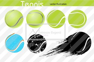 Silhouettes of a tennis ball. Set