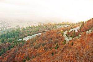 landscape on autumn mountains