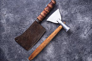 Butchers vintage cleaver and axe for meat