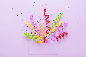 Party confetti explosion & envelope