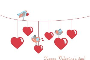 Birds celebrating Valentine's Day