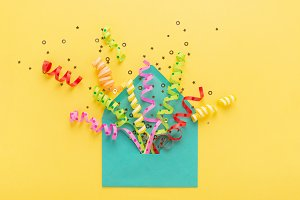 Envelope & party confetti explosion